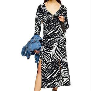 TOPSHOP Animal Print Midi Dress with Slit